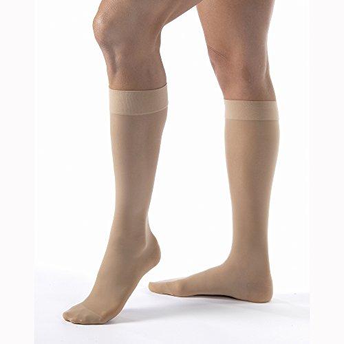Women's Ultrasheer 15-20 mmHg Closed Toe Knee High Support Sock Size: X-Large Full Calf, Color: Natural