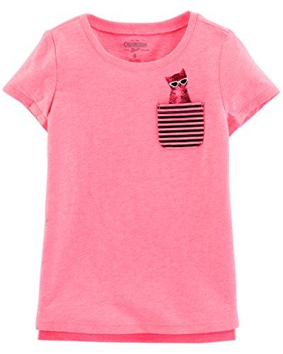 Osh Kosh Girls' Toddler Pocket Tee, Pink/Black, 3T