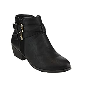 Top Moda EC89 Women's Foldover Lace Up Low Chunky Heel Ankle Booties, Color:BLACK, Size:7
