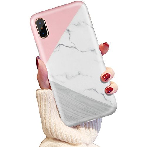 iPhone X Case, iPhone 10 Case, LUMARKE Girls Women Pink White Marble Best Protective Slim Fit Heavy Duty Cute Thin Clear Silicone Bumper TPU Cover Phone Case for iPhone X