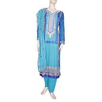 Shabnam Blue Casual Kameez & Salwar Set For Women