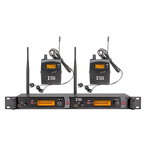(XTUGA RW2080 Rocket Audio Whole Metal Wireless in Ear Monitor System 2 Channel 2 Bodypack Monitoring with in Earphone Wireless Type Used for Stage or Studio ¡­)
