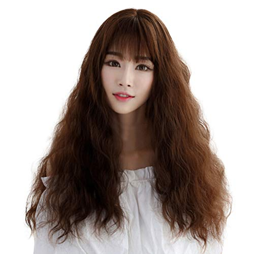Kanhan Hot Sale Fashion Women Japanese Long Curly Air Bangs Wig High Temperature Wire No Lace (Brown)