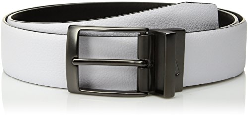 Nike Men's Pebble Feather Edge Reversible Belt, White/Black, (White Reversible Belt)
