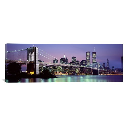 iCanvasART Brooklyn Bridge Across East River at Dusk, New York City by Panoramic Images Canvas Art Print, 36 by 12-Inch from iCanvasART