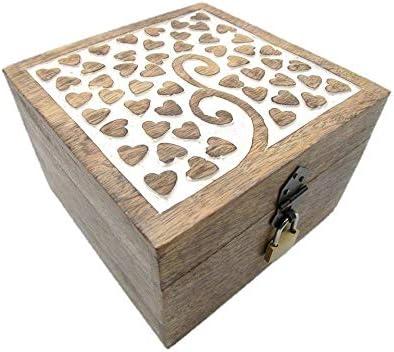 Cofre de madera para juguetes con candado, caja de madera, cofre del tesoro con candado, caja de regalo, regalo de cumpleaños, con cierre, con tapa, madera, marrón, 24 MS Herz 18x18x12 cm: