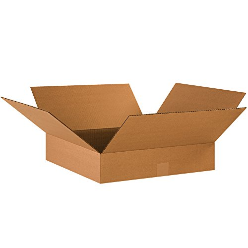 Boxes Fast BF18184 Corrugated Cardboard Flat Shipping Boxes, 18 x 18 x 4, for Clothing, Books, Picture Frames, Artwork, and Mirrors, Kraft (Pack of 25)