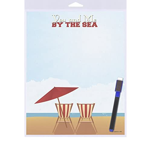 """(SJT40921) You and Me By The Sea (beach chairs and umbrella) White Board 8"""" x 10"""""""