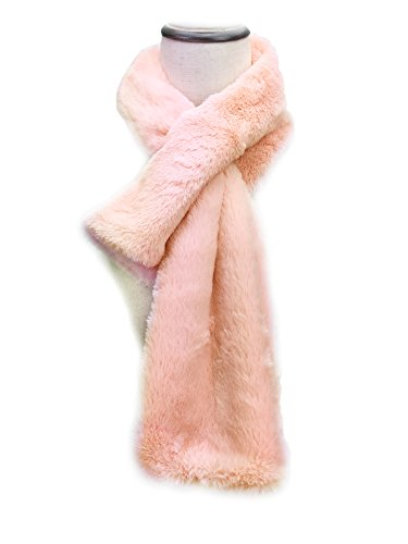 (YOUR SMILE - Long Rectangle Faux Fur Warm Soft Furry Wrap Around Loophole Scarf (Pink / Fur))