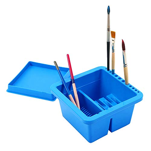 MyLifeUNIT Artist Brush Basin, Multifunction Paint Brush Tub with Brush Holder (Brush Paint Cleaner)