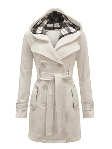 Envy Boutique Women's Military Button Hooded Fleece Belted Jacket Cream 10