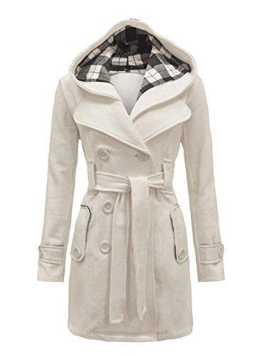 Cream Fleece Jacket - Envy Boutique Women's Military Button Hooded Fleece Belted Jacket Cream 12