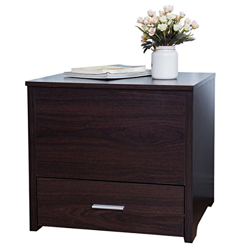 Tangkula Side End Table Wood Home Living Room Sliding Top Table Bedside  Modern Storage Furniture With