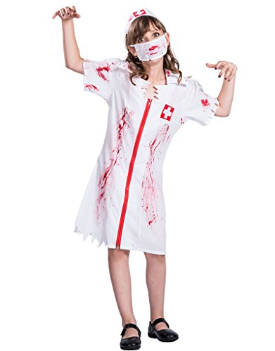 Girl's Zombie Bloody Nurse Costumes Halloween Children Cosplay Dress -