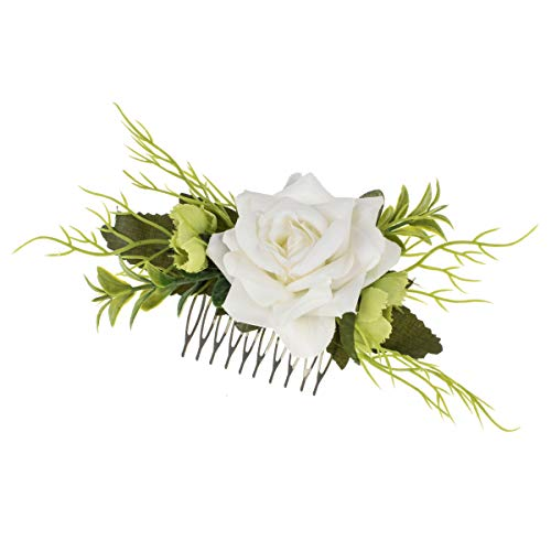 DDazzling Women's 2 xRose Flower Comb Floral Hair Comb Hair Piece Flowers Comb (#White and Green)]()