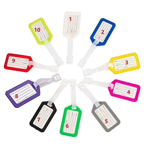 10 Pack - Waterproof Luggage Tags Travel Labels Airline ID Card Suitcase Bags - Pet Cage Kennel Carrier IDTag (Single Color)