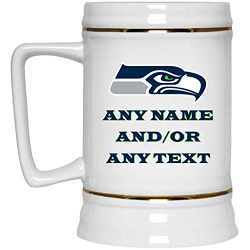 Custom Personalized Seattle Seahawks Beer Mug Seahawks Logo Beer Stein 22 oz White Ceramic Beer Cup NFL NFC Football Perfect Gift for any Seahawks Fan