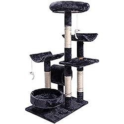 HXGL-Árboles para gatos Torre De Los Gatos Columpio Nido Gato Plataforma Árbol Grab Mensaje Juguete For Mascotas Suministros Mobiliario Sisal Estable Multicapa Fácil De Montar (Size : L56*W43*H96cm)