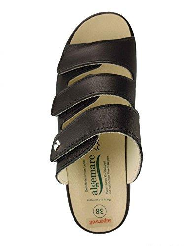 Algemare Damen Pantolette superweit Nappa Leder Keilpantolette mit Algen-Kork Wechselfußbett Made in Germany 4238_0101, Größe:38