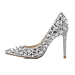 Crystal Shoes With Pointed Head & Heels