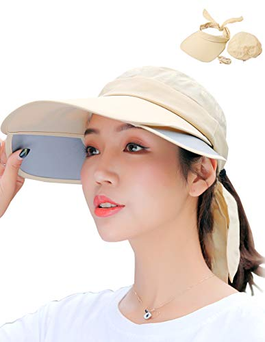 Maylisacc Convertible Sun Visor Hats for Women Ponytail Baseball Cap Sunhat Vicera Mujer Beige