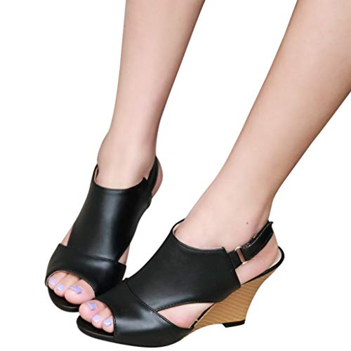 kaifongfu Single Shoes for Women with Belt Buckle High Heels Wedges Sandals Shoes(Black,37)