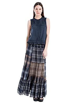 Plaid Patchwork Maxi Skirt