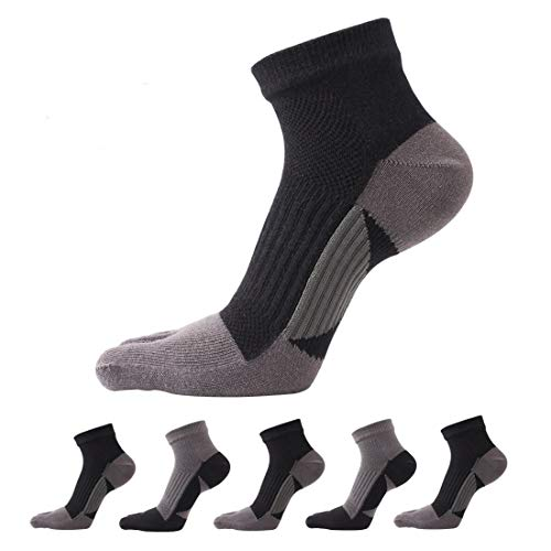 Toe Socks 5 Pairs Five Finger Socks No Show Crew Socks Athletic Running Socks for Men