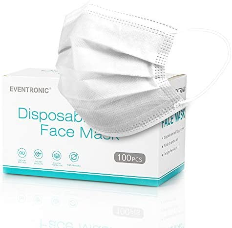 Disposable Masks, Eventronic 100 Pack 3 Ply Face Masks, Breathable Face Masks with Elastic Earloops For Home & Office (White & 100PCS)
