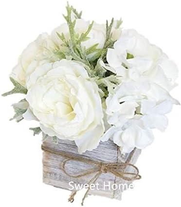 Amazon Com Sweet Home Deco 8 Silk Rose Peony Hydrangea Mixed Flower Arrangement W Wood Vase Wedding Home Decorations White Home Kitchen