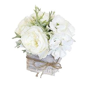 "Sweet Home Deco 8"" Silk Rose Peony Hydrangea Mixed Flower Arrangement w/ Wood Vase Wedding Home Decorations (White)"
