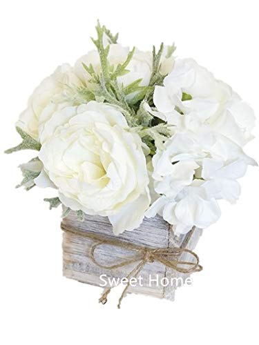 Amazon sweet home deco 8 silk rose peony hydrangea mixed sweet home deco 8 silk rose peony hydrangea mixed flower arrangement w wood mightylinksfo