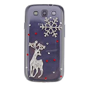 Sika Deer And Snow Zircon Ornament Transparent Jewelry Back Case for Samsung Galaxy S3 I9300