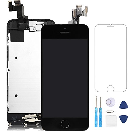 Screen Replacement for iphone 5S Black LCD Display 3D Touch Digitizer Frame Assembly Full Repair Kit, with Home Button, Proximity Sensor, Ear Speaker, Front Camera, Screen Protector, Repair Tools (Iphone 4 Digitizer Lcd Assembly)