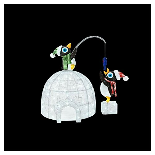 48 in. LED Lighted Tinsel and Acrylic Igloo with Fishing Penguins by Home Accents Holiday (Image #2)