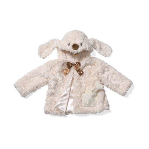 Gund Beige Auggie Doggie Coat with Chocolate Ribbon, Bone Rattle Inside Pocket, Size 3-6 Months