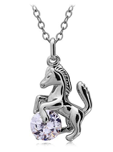 Ailianer Little Horse Necklace,Silver Pony Pendant Zircon Jewelry Gifts for Girls Birthday or Anniversary