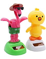AIMONOCIN 2 Pcs Solar Powered Dancing Figures Animal Solar Powered Dancing Toys Doll Kids Gift Bird and Chick