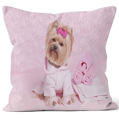 (Nine City Yorkshire Terrier in a Pink Bathrobe and Slippers at The Grooming Salon spa Sack Burlap Pillow,HD Printing Square Pillow case )