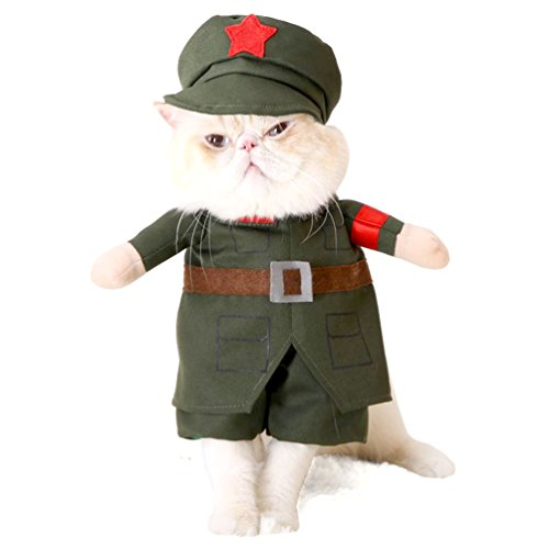 [SMALLLEE_LUCKY_STORE Small Dog Soldier Costume with Hat Military Pet Coat Puppy Clothes Cat Halloween Costume, Medium,] (Army Dog Costumes)
