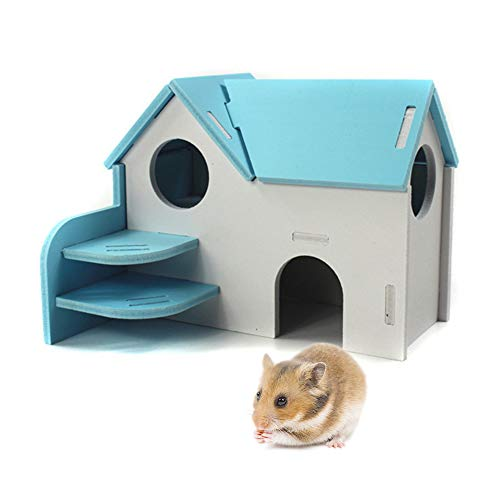 Syrian Hamster Toys,Rat Igloo,Mice Playground,Dwarf Hamsters Supplies,Hedgehog Platform,Gerbil Wooden House,Hamster Hideout,Hamster Cage Accessories (Blue)