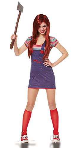Costume Culture Women's Licensed Sassy Chucky Teen Costume, Blue, X-Small (Chucky Costume Shirt)