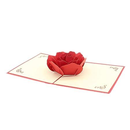 Kentop Tarjeta De Felicitación Rojo 3d Pop Up Cumpleaños Año