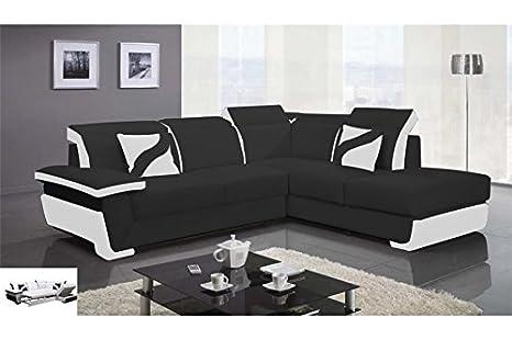 Divano Nero E Bianco : Chloé divano angolare in pelle pu zoé convertibile nero e
