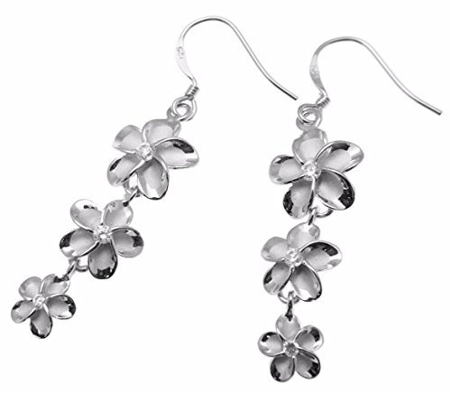 - 925 sterling silver Hawaiian 3 plumeria flower cz dangling wire hook rhodium plated earrings