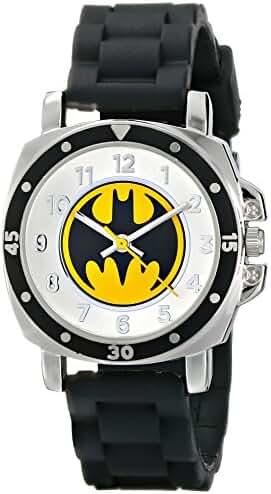 Batman Kids' BAT9032 Black Rubber Batman Logo Strap Watch