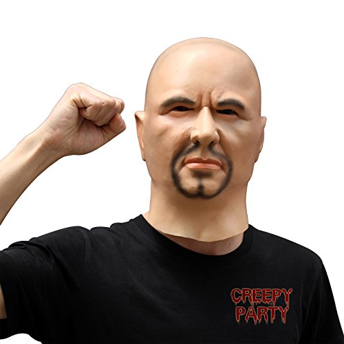 [CreepyParty Deluxe Novelty Halloween Costume Party Latex Human Head Mask Strong Man] (Animal Halloween Costumes Men)