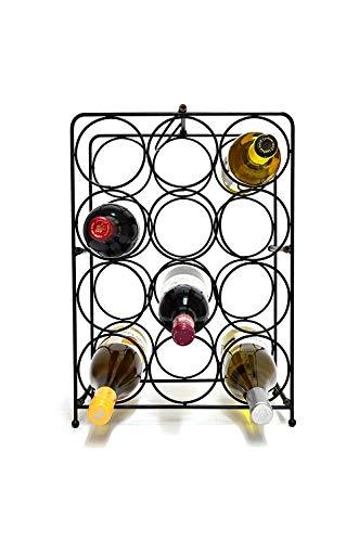 LZZNA 12 Bottle Free Standing Wine Rack, Wine Holder Free Standing Metal Rack for Floor Modern Scroll Art Design Wine Bottle Storage Rack Perfect Floor Standing Wine Storage Rack