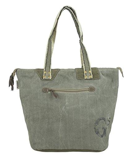 Vintage Femme à en cuir toile et Sunsa Sac Toile main 51796 Ladies Shopper RwUnxXqd