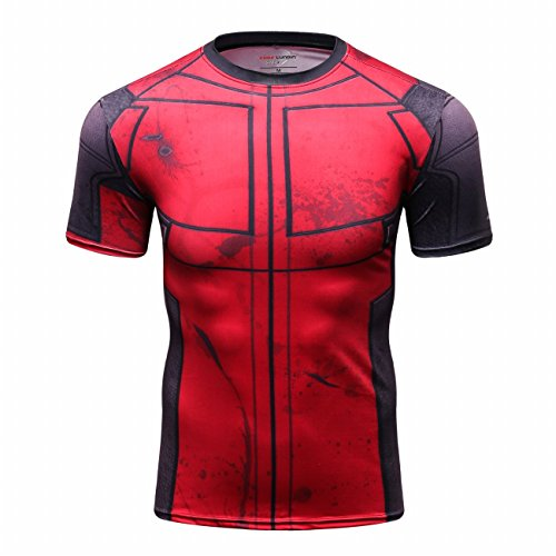 Red Plume Mens Compression Armor Fitness Shirt Sport Running Short Sleeve